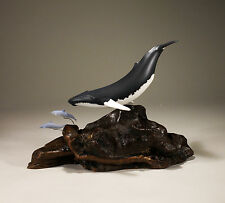 HUMPBACK WHALE and  DOLPHINS Sculpture New direct from JOHN PERRY 6in tall Decor