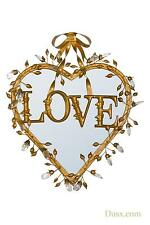 Dusx Antique Gold Clear Crystals and Bow Love Heart Decorative Mirror 52x45cm
