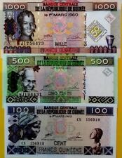 GUINEE 100 500 1000 Francs 2010 2012 EDITION GREAT COLOURFUL UNCIRCULATED NOTES