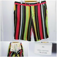 Loudmouth Golf Mens Size 36 Shorts Golf Multicolor Striped