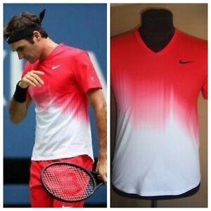 Nike RF Roger Federer 2017 US Open Tennis Red White Shirt Size M