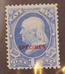 Scott O3S - 1 Cent Navy Official Specimen Overprint No Gum AI SCV $35.00