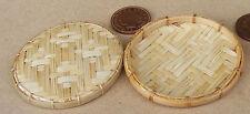 1:12 SCALA 2 cesti di bambù diametro 5 cm Cucina Casa delle Bambole Accessorio Negozio J