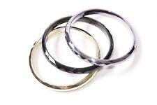 & Dark Grey Shiny Bracelets (S570) Flawless Trio of Ladies Textured Black/Gold