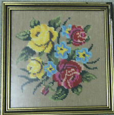Vintage : EMBROIDERY = FRAMED COMPLETED TAPESTRY OF ROSES Ready to Hang