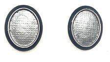 Fable Grey & Black Enamel Simple Oval Stud Earrings