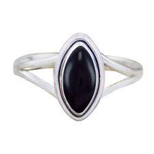 Sterling Silver 925 Black Onyx Marquise Ring Siz-4,5,6,7,8,9[Sr-02]