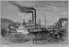 DUBUQUE IOWA MISSISSIPPI 1869 STEAMBOAT RIOT ABOVE DAVENPORT DUBUQUE HISTORY