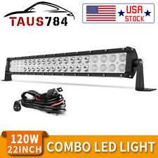 22inch 120W LED Light Bar Flood Spot Combo for Offroad SUV ATV 4WD + Wiring KIT