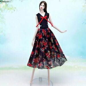 """Black Red Vest Coat Floral Midi Skirt Gown For 11.5"""" 1/6 Doll Outfits Clothes"""
