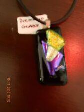1x38x18mm dichroic glass pendant handmade JOY .925 necklace free post