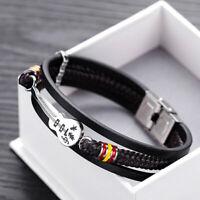 Guitar Bracelet Leather Braided Rope Multi Layer Bangle Punk Jewelry Gift