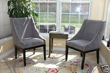 SET OF 2 Modern GREY Arm Slipper Dining Sofa Chair Accent Living Room Furniture