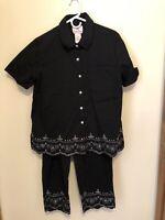 Quacker Factory Sz Large Rhinestone Twill Shirt & Crop Pants Black  A77265