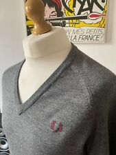 "Fred Perry Grey V Neck Lambswool Jumper 40"" M RARE Made In England Mod Ska 60s"