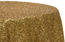 """Glitz Sequins All Over 120"""" Round Tablecloth - Gold"""