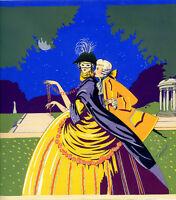 1930s French Pochoir Print Grimbert Love Story Masquerade Comte Comtesse