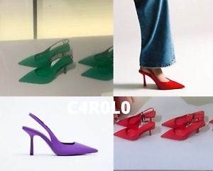 ZARA NEW FABRIC HIGH HEEL SLINGBACK SHOES ALL SIZES & COLORS REF. 2220/810