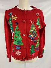 Womens S Small Ugly Christmas Sweater Red Beading Holiday Embroidery Cardigan