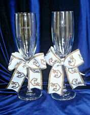 Wedding Toasting Glasses Camo Browning Ribbon Buck and  Doe Bride and Groom