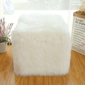 """Ottoman Pouf Covers Faux Fur White Ottoman Footstool Cube 18"""" Cube Foot Rest US"""