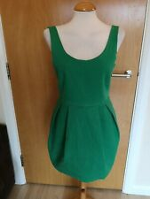 Ladies ZARA Dress Size L 12 14 Green Tulip  Mini Smart Party Evening Wedding