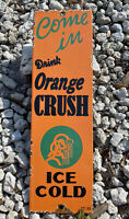 VINTAGE 1935 ORANGE CRUSH SODA PORCELAIN SIGN POP SOFT DRINK GAS STATION CRUSHY