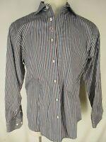 Bugatchi Uomo Shaped Fit Mens Blue Brown Stripe Long Sleeve Cotton Shirt L