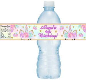 12 Unicorn Birthday Party Baby Shower Water Bottle Stickers Label Pastel Rainbow