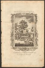 1779 ca ANTIQUE PRINT- ESSEX-COMBAT BETWEEN EDWARD IRONSIDE AND CANUTE THE GREAT