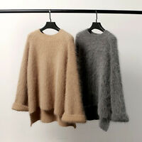 Women cashmere mink fur Pullover Sweater Oversize Loose Tops Coat Jacket Casual
