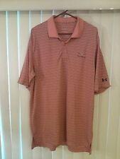 Men's Under Armour Orange Stripes Large Collar Shirt Short Sleeves Euc