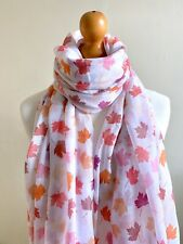 FALLING LEAVES PRINT SCARF LEAVES PRINT LARGE SCARF SYCAMORE LEAF WHITE MULTI