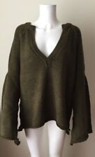 NEW NWT FREE PEOPLE LOVELY LINES BELL SLEEVE SWEATER PULLOVER OLIVE L LARGE TOP