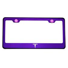 Purple Chrome Laser Etched Tesla Logo License Plate Frame T304 Stainless Steel