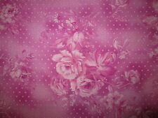 ANTIQUE ROSES FLOWERS PINK ROSE COTTON FABRIC FQ