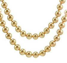 "Yellow Flapper Long Faux Pearl Glass Bead 58"" Single Strand Necklace"