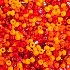 20 Grams Czech Rocailles Preciosa 8/0  Seed Beads - Orange Mix - Size 8 (PS0101)