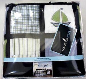 Nautica Kids Boys Zachary 7-Piece Patchwork Sailboat Crib Bedding Set Comforter