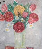 Vintage small oil painting still life with flowers and vase
