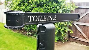 """Vintage London Signpost Cast Metal Direction Sign TOILETS Size 38""""x3.5""""x1"""""""