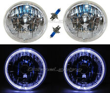 "55 56 57 Chevy Halogen White LED Halo Headlight Headlamp H4 Light Bulbs 7"" Pair"