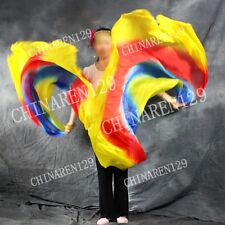 two pieces HALF CIRCLE BELLY DANCE 100% SILK VEIL COLOR yellow blue red yellow 8