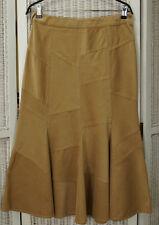 "PRINCIPLES PETITE Corduroy Skirt UK12 32"" Waist Gored Flared Cotton Camel Tan"