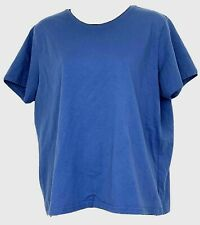 LL Bean Womens Short Sleeve Shirt Solid Blue Cotton Top Basic Outdoor Size Large