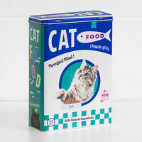 Retro Cat Food 4L Metal Storage Tin Kitchen Pet Treat Biscuit Container Canister
