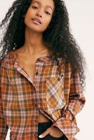 Free People Cozy Dream Flannel Button-down S Small Brown Plaid Shirt Top New