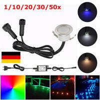 1-50er Set Φ31mm LED Einbaustrahler Garten Treppe Lampe wasserdicht Einbauspot