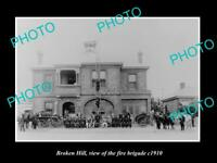 OLD LARGE HISTORIC PHOTO OF BROKEN HILL NSW, VIEW OF THE FIRE BRIGADE c1910