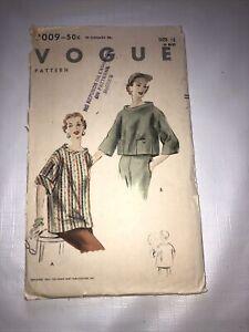 "Vtg 1950s Vogue Pattern 8009 Sz 12 Overblouse Blouse w Pockets Bust 30"" Easy"